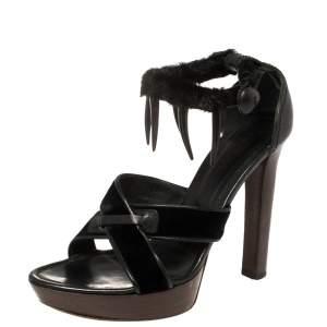 Yves Saint Laurent x Tom Ford Velvet And Leather Fur Ankle Strap Safari Platform Sandals Size 38.5