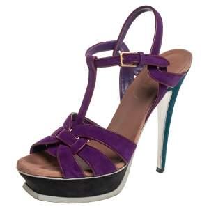 Saint Laurent Purple Leather And Suede Tribute Sandals Size 39