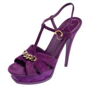 Yves Saint Laurent Purple Suede Tribute Chain Detail Platform Sandals Size 39
