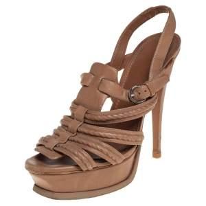 Yves Saint Laurent Beige Braided Leather Hamptons Platform Sandals Size 37