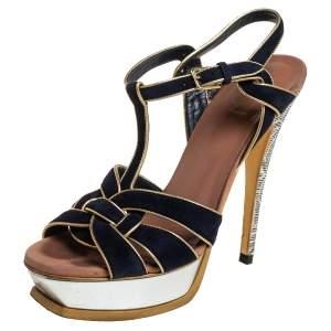 Yves Saint Laurent Black/Gold Suede And Leather Tribute Platform Ankle Strap Sandals 37.5