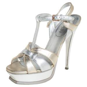 Yves Saint Laurent Silver/Gold Leather Tribute Platform Ankle Strap Sandals Size 39