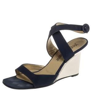 Saint Laurent Navy Blue Suede Open Toe Ankle Strap Wedge Sandals Size 37