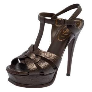 Yves Saint Laurent Brown Textured Leather Tribute Platform Ankle Strap Sandals Size 36