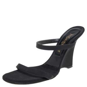 Saint Laurent Black Satin Wedge Slide Sandals Size 38