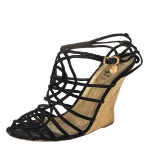 Yves Saint Laurent Black Suede Strappy Wedge Sandals Size 40