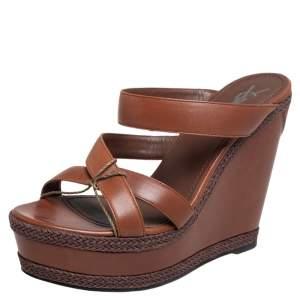 Yves Saint Laurent Brown Leather Platform Slide Wedge Sandals Size 40