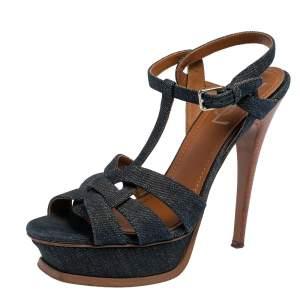 Yves Saint Laurent Blue Denim Tribute Platform Sandals 38.5