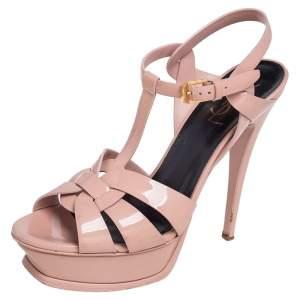 Yves Saint Laurent Beige Patent Leather Tribute Platform Sandals Size 38