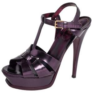 Yves Saint Laurent Metallic Purple Leather Tribute Platform Sandals Size 37