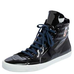 Yves Saint Laurent Black Patent Leather High Top Sneakers Size 41