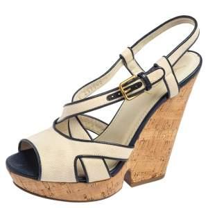 Yves Saint Laurent White/Blue Canvas Deauville Cork Wedge Slingback Sandals Size 40