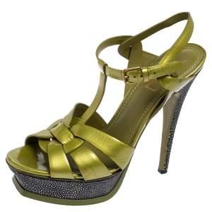 Yves Saint Laurent Apple Green Leather Tribute Platform Sandals Size 39