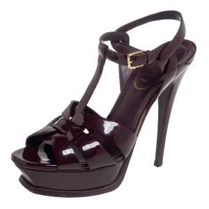 Yves Saint Laurent Burgundy Patent Leather Tribute Platform Sandals Size 38
