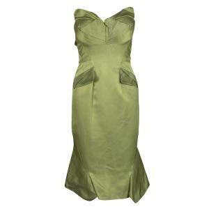 Zac Posen SS'13 Linden Green Strapless Dress S