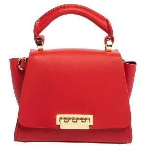 Zac Posen Red Leather Mini Eartha Top Handle Bag