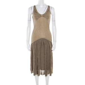 Zac Posen Metallic Peforated Knit Fit and Flare Sleeveless Dress M