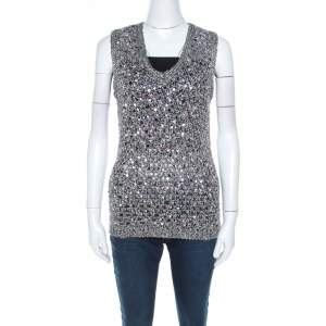 Zac Posen Grey Sequin Paillette Embellished Knit Vest L