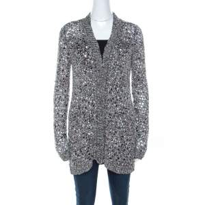 Zac Posen Silver Sequin Embellished Knit Long Sleeve Cardigan L