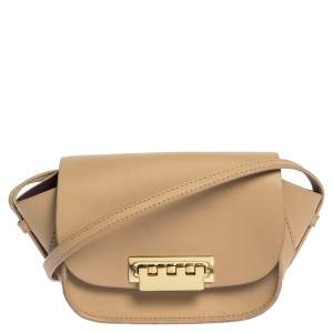 Zac Posen Beige Leather Eartha Saddle Shoulder Bag