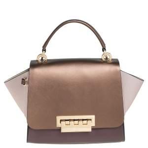 Zac Posen Metallic Pink and Bronze Leather Eartha Top Handle Bag