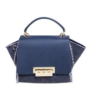 Zac Posen Blue Denim and Leather Eartha Top Handle Bag
