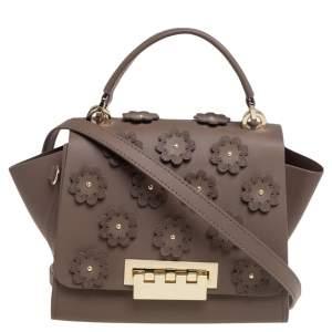 Zac Posen Dark Beige Floral Applique Leather Eartha Top Handle Bag