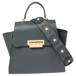 Zac Posen Blue Gum Leather Eartha Embellished Strap Top Handle Bag