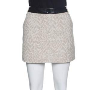 Zadig and Voltaire Beige Metallic Jacqaurd Leather Trim Jack Deluxe Skirt M