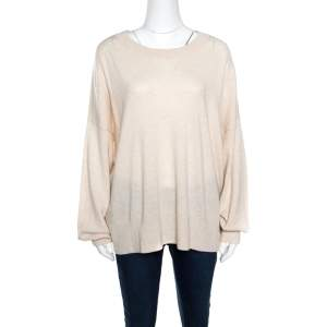 Zadig and Voltaire Beige Wool Sequined Elbow Trim Rony Patch Sweater M