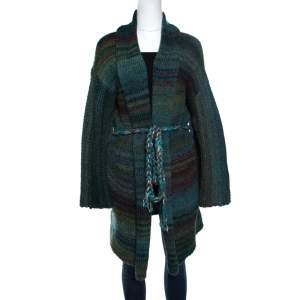 Zadig and Voltaire Multicolor Chunky Knit Belted Mia Cardigan M/L