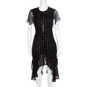 Zadig and Voltaire Noir Crepe Lurex Detail Ruffled Rool Shiny Shirt Dress XS