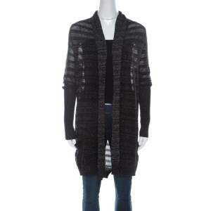 Zadig and Voltaire Black & Silver Lurex Knit Dana Pointelle CRL Cardigan XS