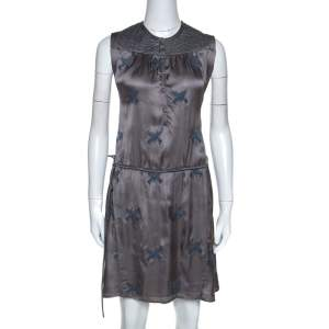 Zadig and Voltaire Grey Embroidery Detail Satin Rafi Brod Dresses S