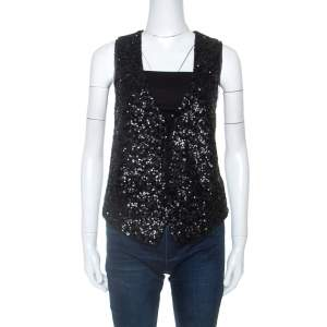 Zadig and Voltaire Deluxe Black Sequin Embellished Emilie Waistcoat M