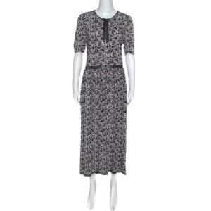 Zadig and Voltaire Black Rivale Print Lace Trim Midi Dress M