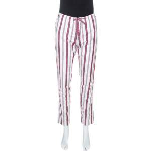 Zadig & Voltaire White Striped Twill Cotton Paris Raye Pants S