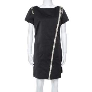 Zadig & Voltaire Black Textured Stud Embellished Ranon BF Dress M
