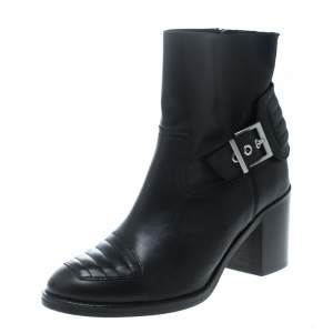 Zadig and Voltaire Black Leather Carmine Block Heel Ankle Boots Size 37