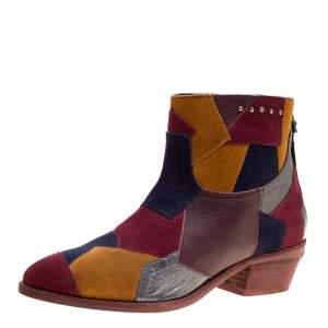 Zadig and Voltaire Multicolor Suede and Leather Patchwork Teddy Ankle Boots Size 38