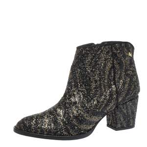 Zadig & Voltaire Black/Gold Glitter and Suede Molly Ankle Booties Size 40