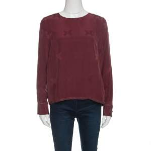 Zadig and Voltaire Burgundy Tivy Jacquard Silk Lace Trim Long Sleeve Blouse M