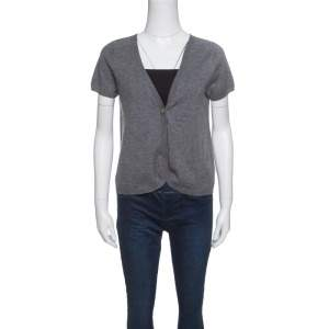 Zadig and Voltaire Grey Studded Short Sleeve Dublini Cardigan M