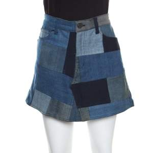Zadig and Voltaire Indigo Washed Denim Jell Patch Deluxe Mini Skirt L