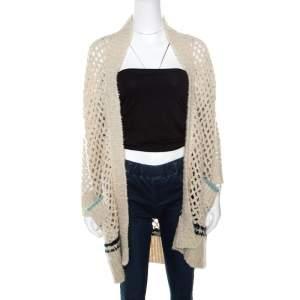 Zadig and Voltaire Cream Crochet Knit Merino Wool Open Front Pix Hook Cardigan XS