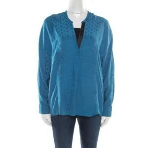 Zadig & Voltaire Prusse Blue Jacquard Motif Silk Tine Jac Blouse S