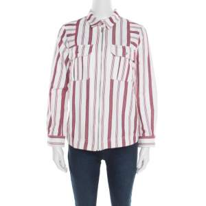 Zadig and Voltaire Red and White Striped Cotton Twill Tach Raye Zipped Shirt S