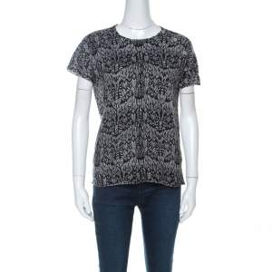 Zadig and Voltaire Grey & Black Printed Half Sleeve Silk-Cashmere Blend Top M