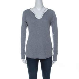 Zadig and Voltaire Grey Cotton Long Sleeve Tunys Rhinestone T-Shirt XS