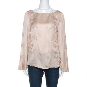 Zadig & Voltaire Beige Embroidered Satin Lace Trim Toxanne Brod Top S